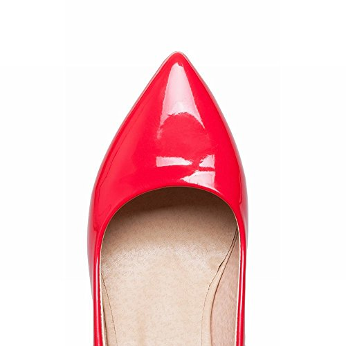 Mee Shoes Damen High Heels Lackleder Plateau Pumps Rot