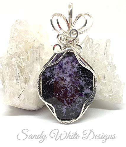 Purple Necklace, Charoite Necklace Pendant In Sterling -