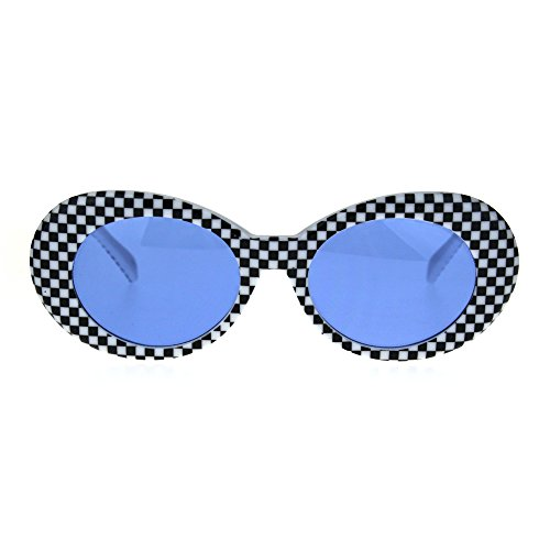 Vintage Fashion Womens Sunglasses Oval Black White Checker Print Blue - Black Checkered White Sunglasses And