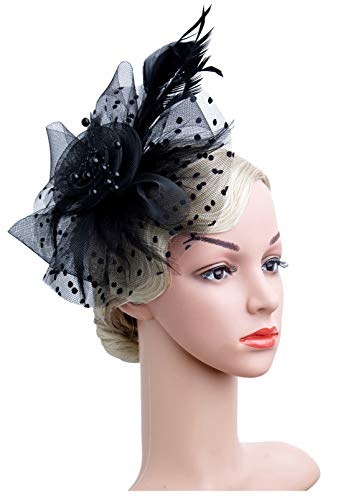 Czioe Flower Cocktail Tea Party Headwear Feather Fascinators Top Hat for Girls and Women (1-Black) -