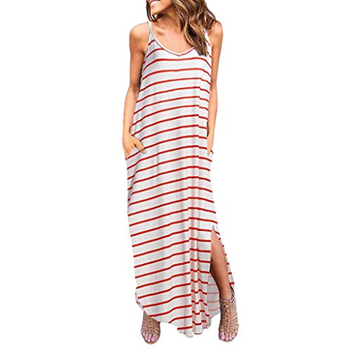 ♡QueenBB♡ Women's Sleeveless Racerback and Long Sleeve Loose Plain Maxi Dresses Casual Long Dresses with Pockets