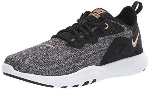 Nike Women's Flex Trainer 9 Sneaker, Black/Metallic Gold-Gunsmoke, 9 Regular US