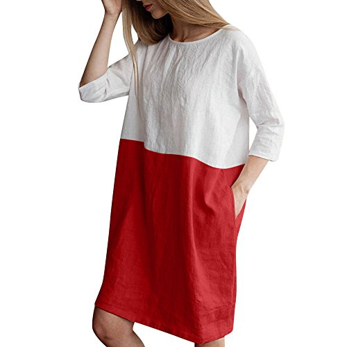 BODOAO Cotton Dress Casual Patchwork Tunic Linen Pockets Oversize Dress Sleeved Loose 2 1 Red Women 8Owg18