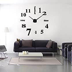 DIY 3D Wall Clock Frameless Modern Acrylic Mirror Metal Large Wall Stickers Clocks Wall Watches Room Home Decorations by SMYTShop (Black)