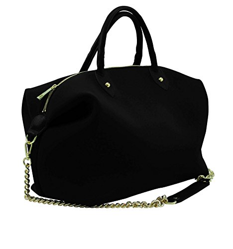 Borsa Bauletto Large In Neoprene Con Iniziali - nero, V