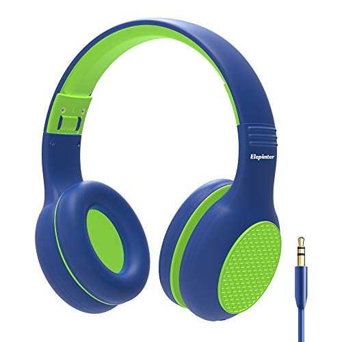 Elepinter Kids Headphones with 85dB Volume Limited Hearing Protection & Music Sharing Function, Tangle-Free Cord, Wired On-Ear Headphone for Children Toddler Teens (Blue Green)