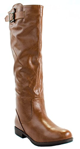 Bamboo Womens Montage-01N Faux Leather Plain Knee High Boots with Zipper Closure Chestnut u4lsE2iQ