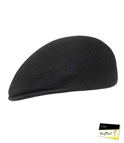 Fiebig Herrenflatcap Flatcap Schiebermütze Schirmmütze Gatsby Sportmütze Golfermütze Mütze Cap einfarbig für Männer (FI-42215-W16-HE1-18-60) in Schwarz, Größe 60 inkl. EveryHead-Hutfibel