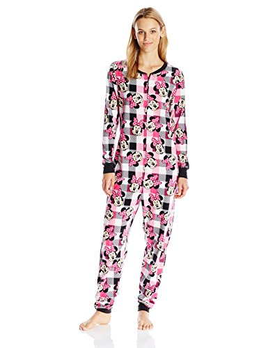 Disney Women's Minnie Union Suit, Pink Plaid, - Union Suit Plaid
