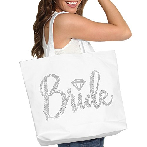 Bridal Bag - Bride with Diamond Motif Rhinestone Tote Bag - Bridal Shower Gift & Accessories Bride Tote - White Tote(Bride RS) WHT