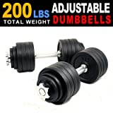 New one pair of 40 50 60 105 200 Lbs adjustable black paint cast Iron dumbbell kit with stainless steel handle (200 LB)