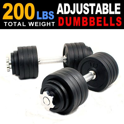 New one pair of 40 50 60 105 200 Lbs adjustable black paint cast Iron dumbbell kit with stainless steel handle (200 LB) For Sale