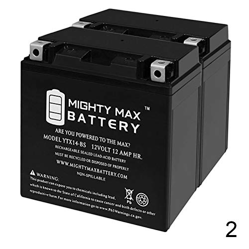 Mighty Max Battery YTX14-BS Battery for Piaggio 500 MP3 500 / Sport ABS '14-'16-2 Pack Brand ()