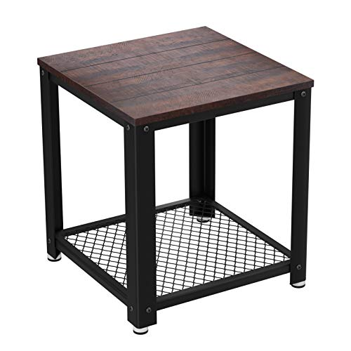 ide Table, Nightstand with Mesh Shelf, Sturdy Metal Frame, for Living Room, Bedroom, Easy to Assemble ULET41BF ()