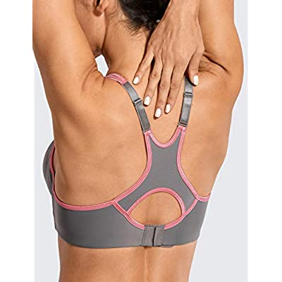 SYROKAN Women's Full Support High Impact Racerback Lightly Lined Underwire Sports Bra at Women's Clothing store