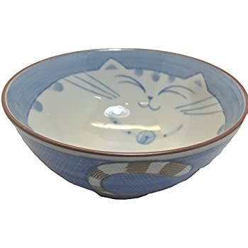 JapanBargain Smiling Blue Cat Porcelain Rice Bowl 4-1/2-inch