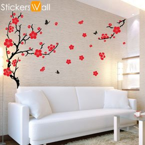 Genial Large Plum Blossom Wall Sticker   Orange