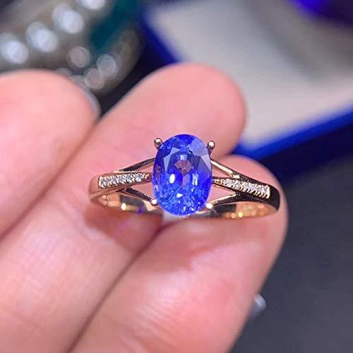Natural Ceylon Blue Sapphire Ring, September Birthstone, 18K Solid Gold Genuine Diamond Rings For Women, Handmade Engagement Wedding Ring ()