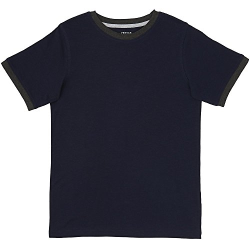 (French Toast Boys' Little Short Sleeve Ringer Crew Neck Tee Shirt, Navy, 7)