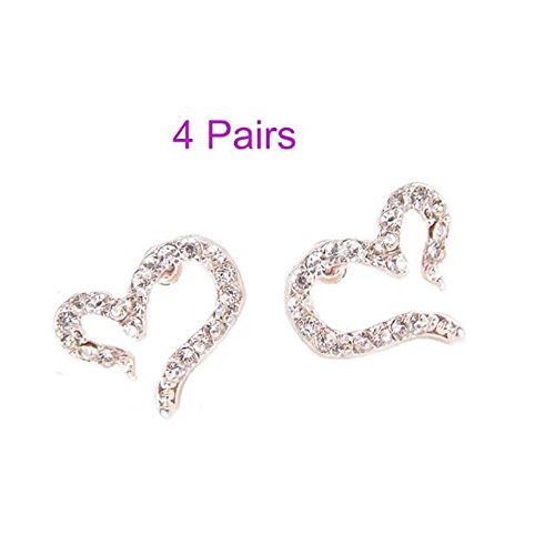Custom Womens Designer Disney Costumes (Garrelett Crystal Earrings, 4 Pairs Women Lady Elegant Diamond Rhinestone Love Heart shaped Ear Studs Wedding Jewelry Earrings for Daily Wearing (Silver))