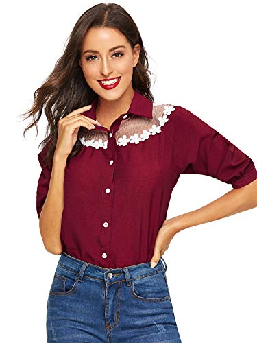 Collar Polo Mesh Shirt - Milumia Women Collar Button Down Shirts Polo V Neck Lace Mesh Contrast Office Casual Blouses Tops Red