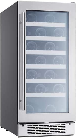 Zephyr PRW15C01BG Presrv 15 Inch Single Zone Wine Cooler with Glass Door, 3.4 cu/ft, Built-In and Freestanding, Wine Fridge, Compact Bar Fridge, Reversible Door (Upgraded)