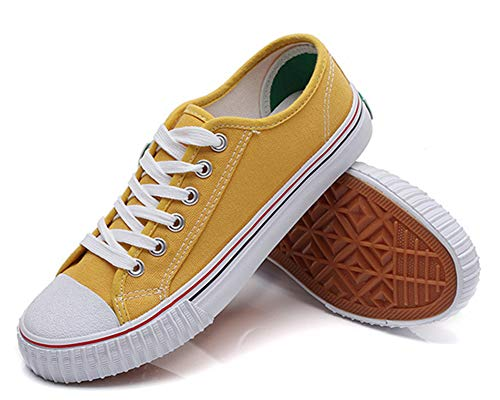 Chaussure De Comfortable Talon Tennis Sneakers Easemax Plat Jaune Femme Toile EqaOOw