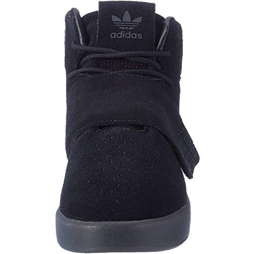 Zapatos Júnior Negro Cuero C Strap Tubular Adidas Entrenadores Originals Invader Bqzff0