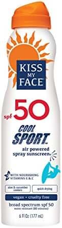 Kiss My Face Cool Sport Spray Sunscreen, Vegan SPF 50 6 oz