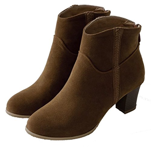 AIYOUMEI Womens High Block Heel Chelsea Boots Faux Suede Mid High Ankle Boots Shoes For Women Shoes For Women Brown 6Bn7kay