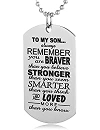Always Remember To My Son Dog Tag From Dad Mens Boys...