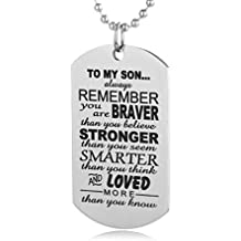 FAYERXL Always Remember To My Son Dog Tag From Dad Mens Boys Necklace Military Chain Air Force Pendant