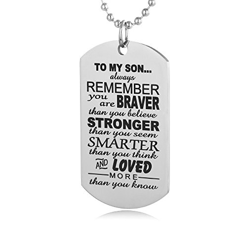 Kids Dog Tags (FAYERXL Always Remember to My Son Dog Tag from Dad Mens Boys Necklace Military Chain Air Force)
