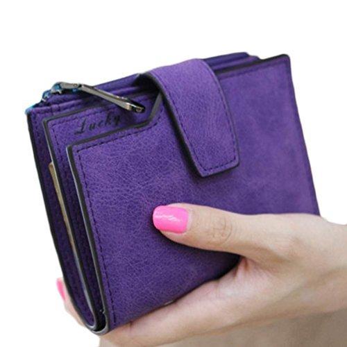 (Mosunx(TM) Fashion Women Mini Zipper Bifold Leather Wallet Card Holder Purse Gifts (Purple))