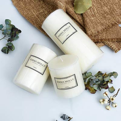 Scented Candles White Scented Candles High-grade Romantic Candle Holder Aromatherapy Pillar Candle Festival Birthday Party Wedding Decoration ()