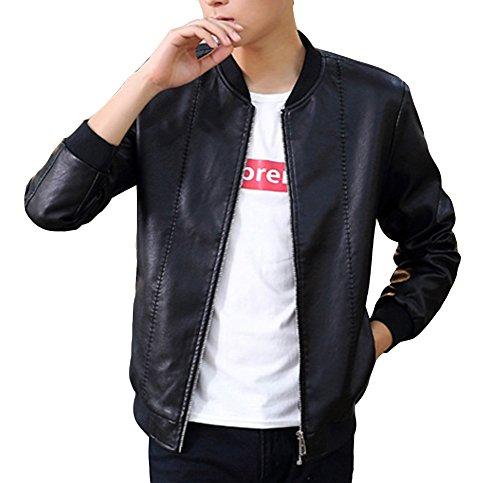 Bomber Pu Uomo Cappotto Outwear Nero Maniche In A Lunghe Pelle xq1tnR8drt