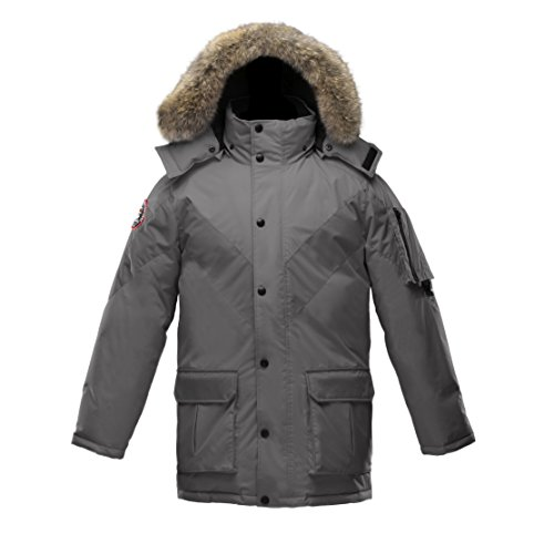 Triple F.A.T. Goose Hesselberg Mens Goose Down Jacket with Real Coyote Fur (Grey) - Coyote Fur Parka