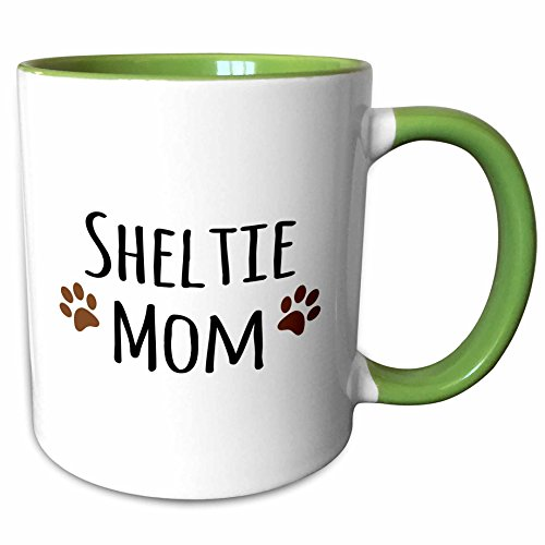 (3dRose InspirationzStore Pet designs - Sheltie Dog Mom - Shetland Sheepdog - Doggie by breed - brown paw prints - doggy lover pet owner - 15oz Two-Tone Green Mug (mug_154194_12))