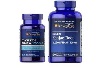 Combo: 7-Keto DHEA 100 mg (Patentlean) et Konjac Glucomannan 1000 Mg (Lipozene)