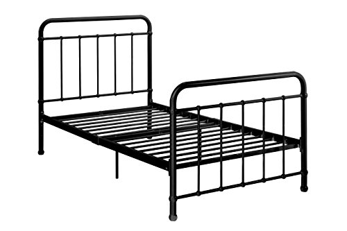 "DHP Brooklyn Metal Iron Bed w/ Headboard and Footboard, Adjustable height (7"" or 11"" clearance for storage), Sturdy Slats Included, No Box Spring Required, Twin Size Mattress, Black (Iron Beds Wrought White)"