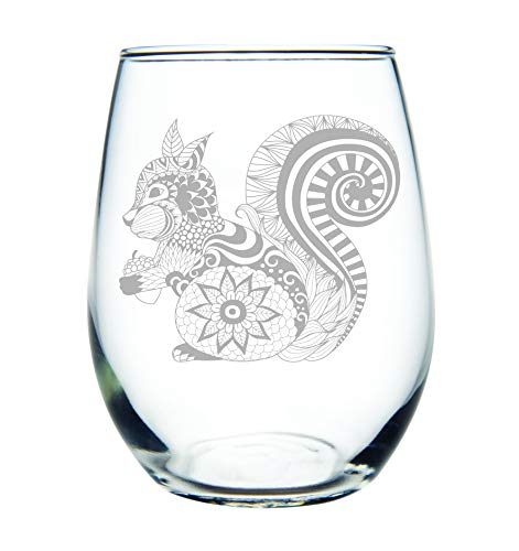Squirrel 15 oz. stemless wine glass