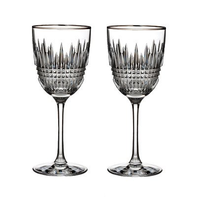 WATERFORD LISMORE DIAMOND Red wine pair by Waterford