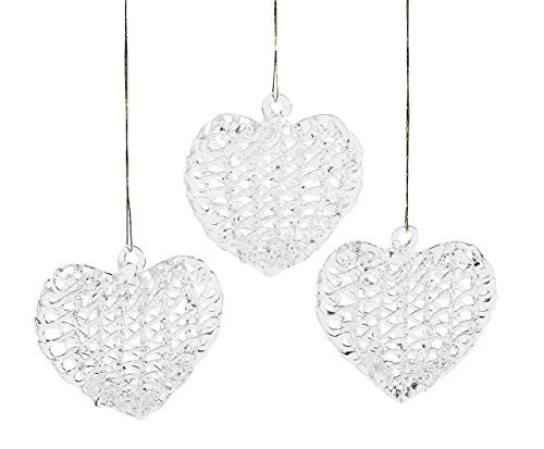 24 Spun Glass Heart Ornament Set Christmas Gift Topper Tree Wedding Favor Lot by FX