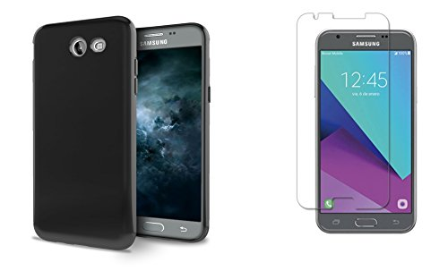 Samsung Galaxy J3 (Luna Pro, Eclipse, Mission, Sol 2) - Bundle: Ultra Slim Fit Soft TPU Gel Case - Black, Atom LED and Tempered Glass Screen Protector