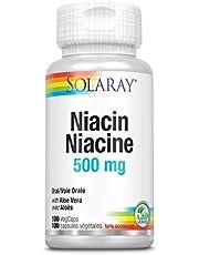 Solaray Niacin 500mg   Vitamin B-3 for Healthy Skin, Circulatory, & Nervous System Support   100 VegCaps