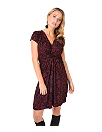 KRISP Womens Fashion Casual Floral V Neck Knot Front Dress Long Cap Sleeves Tunic