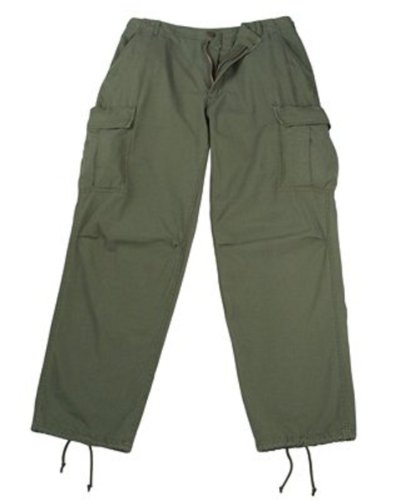 Olive Drab Rip-Stop Vintage Vietnam Fatigue Pants (Large)