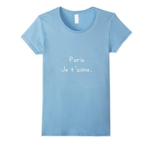 Womens Paris je t'aime vacation t-shirt Medium Baby Blue