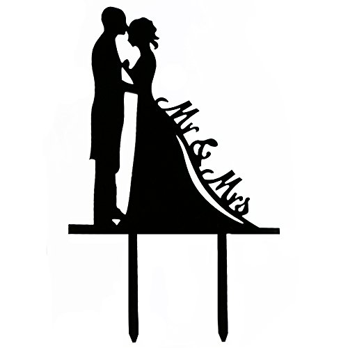 Ecape Wedding Cake Toppers with MR and MRS Bride and Groom for Party Decoration Acylic