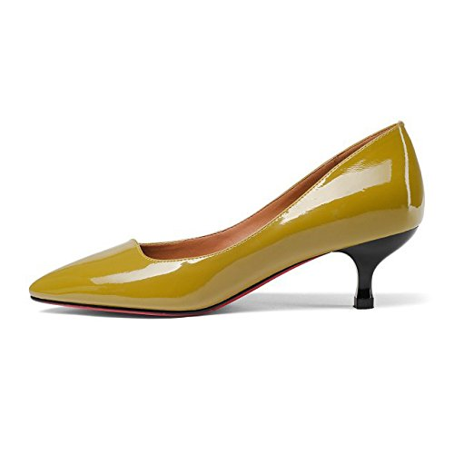 A Party Evening Prom Spillo Shoes UK Ufficio Lavoro Kitten Pompe 34 Wedding Heels 2 Leather Court EU Yellow Scarpe Padent Womens qwO6ZnS6